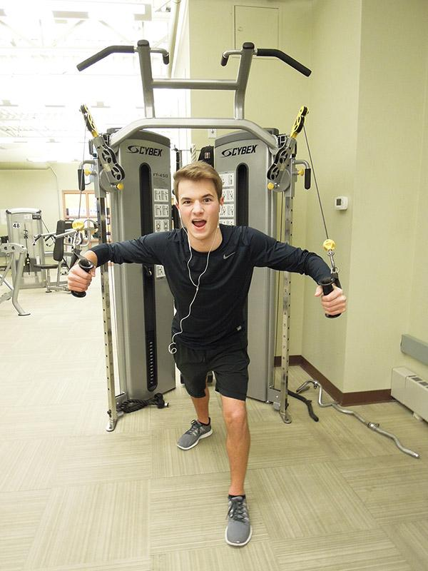 Junior Ryan Bourque stays in shape this winter at the gym.