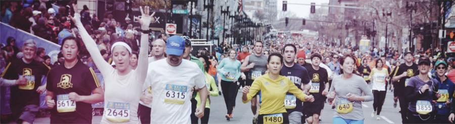 This photo from the previous marathon shows people finishing the race before the bombs went off.