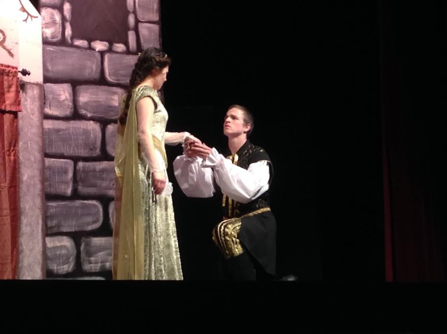 Seniors Alicia Pierozzi (left) as Imogen and Colby Burbank (right) as Iachimo in Shakespeare's Cymbeline.