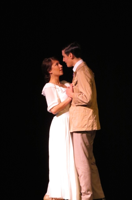 Jenny Griffin and David Palmer embrace as Daisy Buchanan and Jay Gatsby in  the Wed. matinee performance.