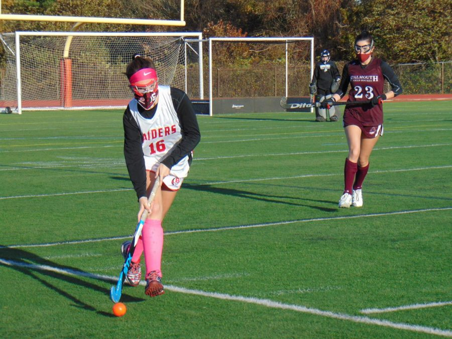 Senior varsity field hockey captain Leah Pierce playing in game against Falmouth.