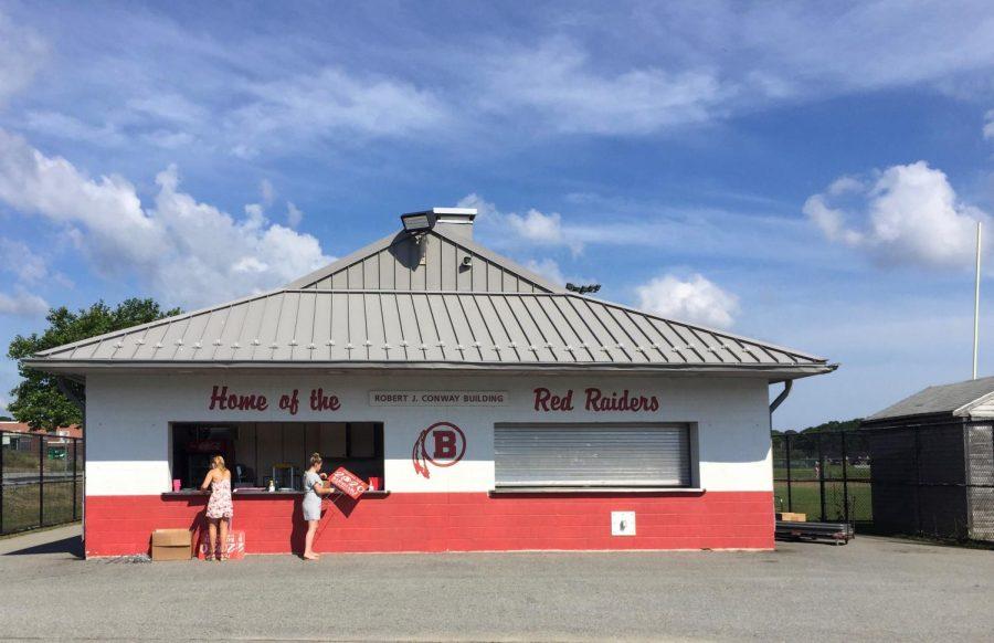 Former 'Red Raider' logo displayed on Robert J. Conway building.