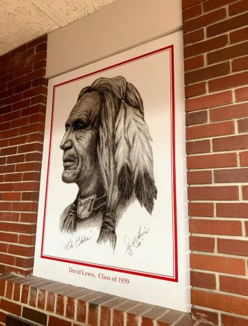 Former Red Raider mascot depicts artwork of Native American.