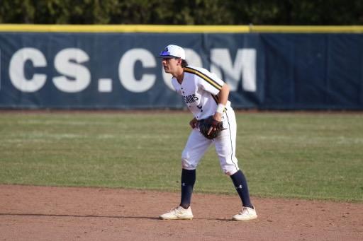 DiSarcina playing baseball at UMASS Dartmouth