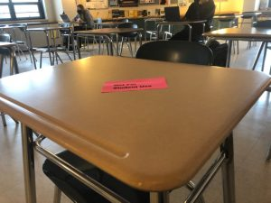 Desk marks 'not for student use' in order to ensure social distancing amongst students.