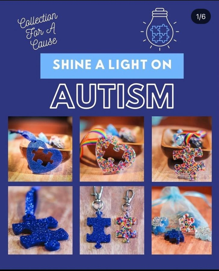 Pairs of ornaments advertised to advocate for autism through putting together a missing puzzle piece.