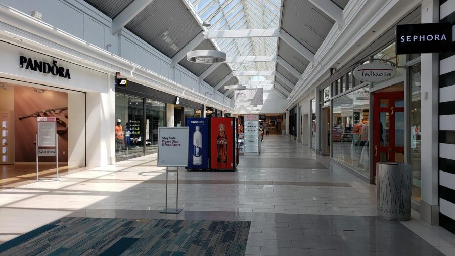 Even with COVID restrictions relaxing and many shops reopening their doors, the mall remains empty.