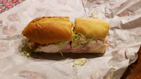 An unwrapped regular Jersey's Mikes sandwich.